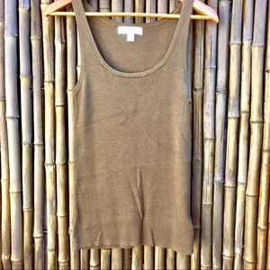 Michael Kors Olive Green Rib Knit Sleeveless Tank